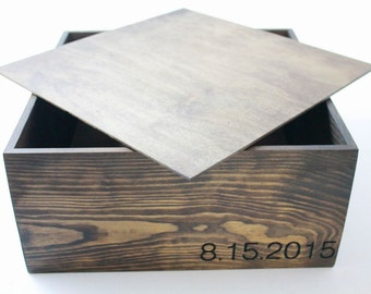 """Wood Box With Date Engraved and Lid 12""""x 12""""x 6"""" Wedding Box Special Event Time-Stamp Box (12x12x6 Box With Lid. Date Engraved. Dark Walnut)"""