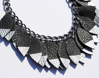 Charcoal grey and silver leather leaf necklace