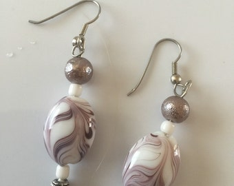 Purple white and silver beaded earrings