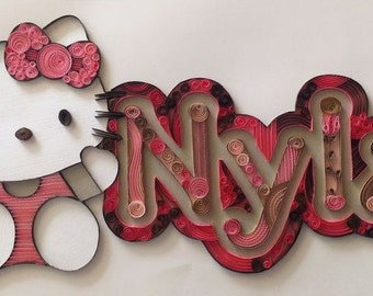 Quilling - Hello Kitty Custom Nameplate Wall Hanging, Nyla