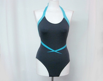 CLEARANCE Swimsuit Vintage One piece Halter Swimsuit anthracite with blue print with open back US 8/10
