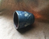 OOAK Ceramic Cup Blue Carved White Frogs