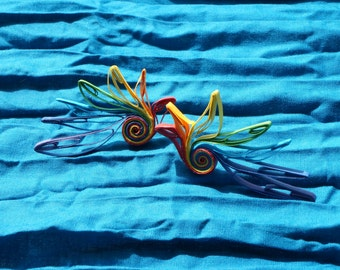 Paper Quill Earrings: The parrots in Rainbow Carnival Series
