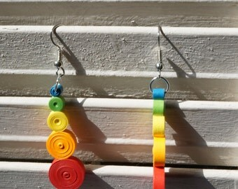 Paper Quill Earrings: Reflection in Rainbow Carnival Series