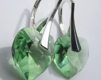 925 Solid Sterling Silver Leverback Swarovski Xilion Heart Crystal Birthstone Earrings - Peridot Light Green August Birthstone