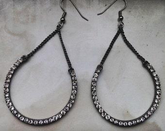 Large Rhinestone Teardrop Earrings
