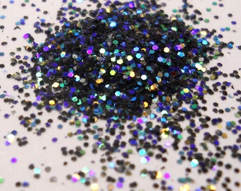 Black Rainbow Flash Solvent Resistant Glitter .015, Cosmetic Grade Nail Glitter, Indie Nail Glitter