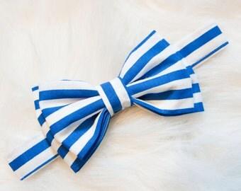 Royal Blue & White Stripe Bow Tie -You Choose Size