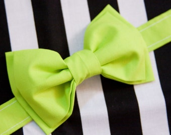 Electric Neon Green Bow Tie – You Choose Size