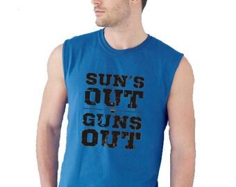Suns Out Guns Out Sleeveless Men Shirt~ men Muscle Tank Top- Summer Workout tank top Suns Out Guns Out Tank Top Jump Street Inspired