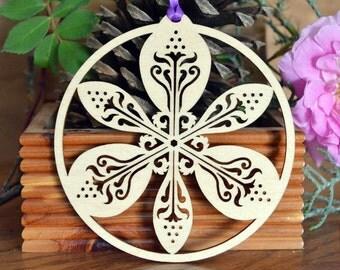 Wood Iris ornament Flower decoration intricately cut Iris decoration