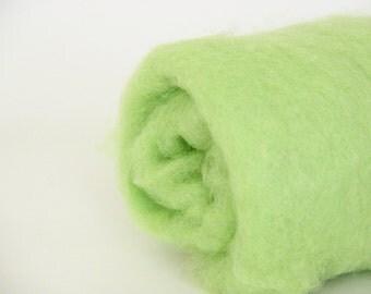 Needle felting wool, 1 oz, chlorophyll - lime green wool.  Maori wool blend of coopworth and corriedale. Green felting wool. Carded wool.