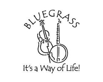 BLUEGRASS Banjo Stand Up Bass car decal