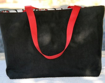 Classy Black Tote with contrasting handles and cute chicken lining