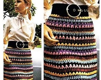 Crochet Skirt Pattern Vintage 70s Multicolored Skirt Crocheted Skirt Pattern Crochet Fashion Skirt Pattern Crochet Pencil Skirt Pattern