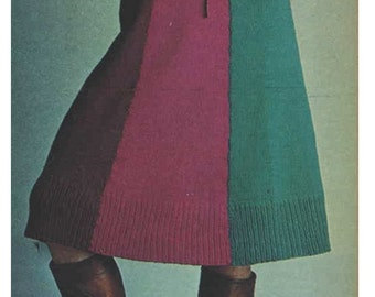 Knitting Skirt Pattern Vintage 70s-Knitted Skirt Pattern-Bohemian Clothing-INSTANT DOWNLOAD