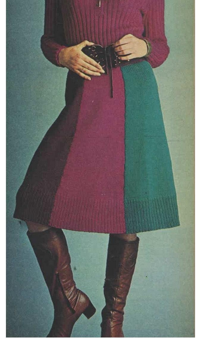 Knitting Skirt Pattern Vintage 70s-Knitted Skirt