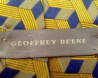Geoffrey Beene 100% Silk blue and yellow necktie