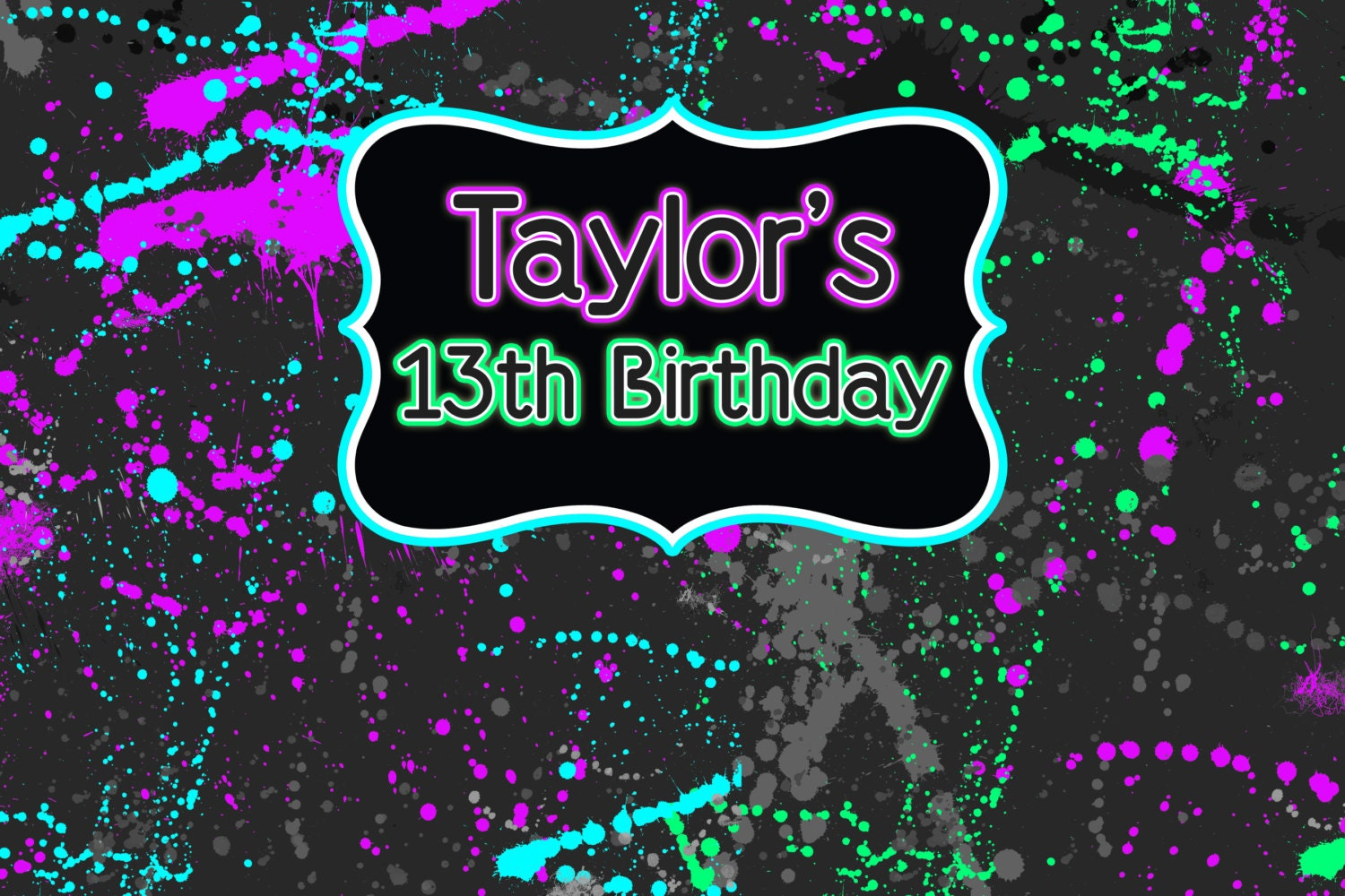 Neon Party Personalized Backdrop Birthday Cake Table