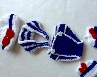 Nautical Crochet Photo Prop Outfit