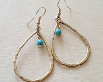 Free shipping within USA * Gorgeous Teardrop Golden Turquoise Bead Earrings