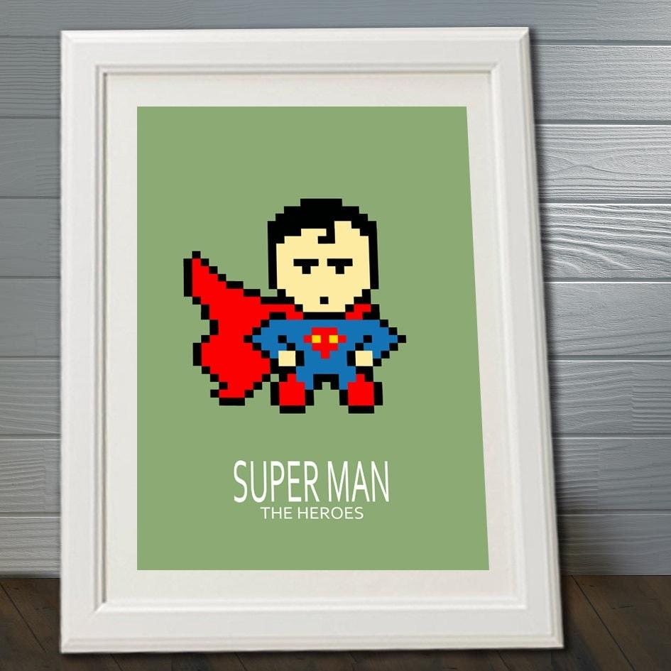 affiche superman super heros pour chambre enfant et salle de. Black Bedroom Furniture Sets. Home Design Ideas