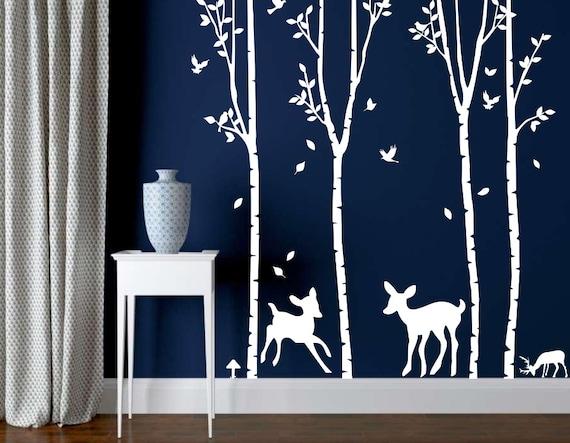 Blanc arbre mur d calque p pini re arbre decal par for Autocollant mural francais