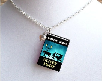 Oliver Twist with Tiny Heart Charm - Miniature Book Necklace