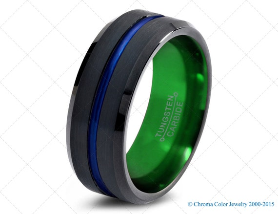mens wedding bandblack green tungsten by chromacolorjewelry