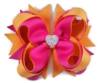 Hot Pink & Cream Orange Boutique Hair Bow with Sparkly Heart for Formal Event, Wedding, Party, Birthday, Cute Back to School Gift for Girls