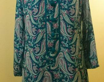 Mod, Sixties inspired high neck paisley dress