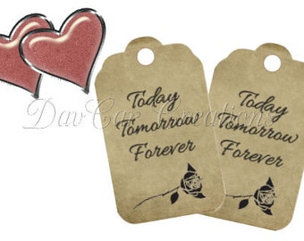 Printable Tags Today Tomorrow Forever Wedding Engagement Bridal Shower