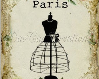 Vintage Style Note Cards Floral Border with Dress Form Paris Set of 10 notecards
