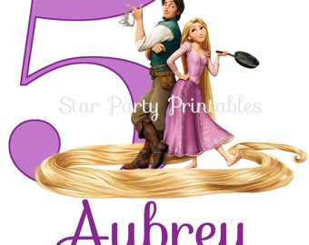 Personalized Tangled Digital Image, Rapunzel, T shirt Printable Iron On Transfer Sticker custom Birthday Shirt