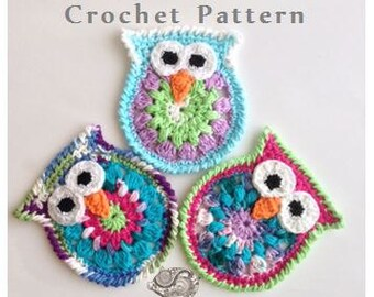 Owl Coasters or Appliques - PDF CROCHET PATTERN