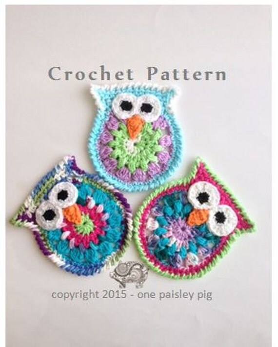 Owl Coasters or Appliques PDF CROCHET PATTERN