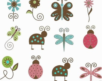 INSTANT Download Machine Embroidery Designs 14 Files Pes LADYBUG Butterfly Dragonfly Flowers Floral Embroidery