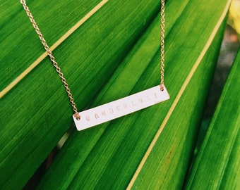 WANDERLUST Hand Stamped 14k Gold Filled or Sterling Silver Horizontal Bar Necklace With Chain
