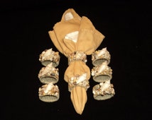 Lot of 8 Handcrafted Natural Seashell Napkin Rings Holders Ocean Beach Decor