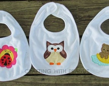 baby bib, embroidery baby bib, applique bib, owl baby shower, ladybug on flower, bear sleeping, bib, personalized embroidery, FAST SHIPPING