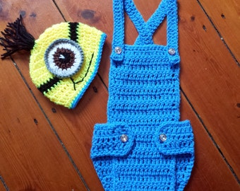 Despicable Me,MINION INSPIRED,crochet minion set,boy photo prop,handmade minion set,baby outfit,photo prop,minion costume,minion hat