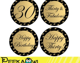 Instant Download 30th Birthday Cupcake Toppers, 30th and Fabulous topper, Printable Kiss Black Golden 30th Birthday Favor tags, Sticker!!!