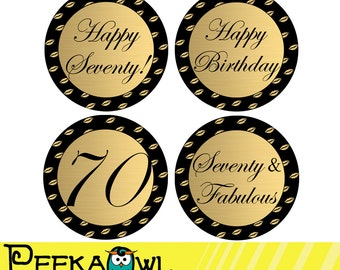 Instant Download 70th Birthday Cupcake Toppers, 70th and Fabulous topper Printable - Black Golden 70th Birthday Favor tags, Sticker!!!
