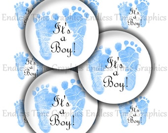 It's A Boy Bottle Cap Images ~*DIGITAL*~ Baby Boy Blue Footprints ~*Cupcake Toppers*~ 1 Inch Printable Circles 146