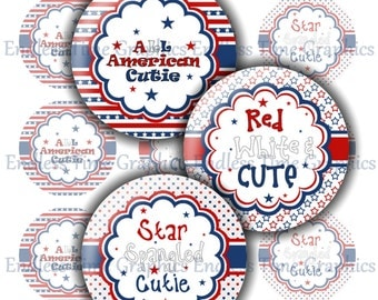 4th of July Bottle Cap Images ~*DIGITAL*~  All American Cutie. Hair Bow Center. Badge Reel. Pendant Necklace. 1 Inch Printable Circles 233