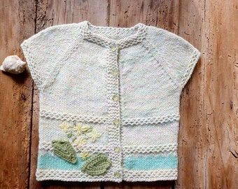 Hand Knitted Baby Clothes, Matinee Cardigan, 18-24m, Unique Baby Vest, Gift Idea, Soft Knit Baby Girl