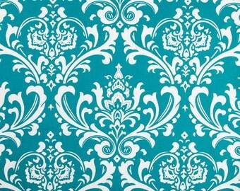Blue Valance. Turquoise Valance. Turquoise Damask Valance.