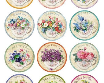 Edible Wafer Paper Vintage Shabby Chic Tea Time, Tea Party Cookie  and Cupcake Toppers.