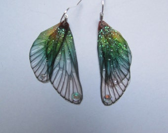 vintage Silver earrings elven fairy wings Dragonfly gradient