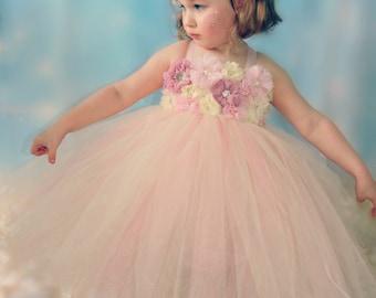 Blush Pink Flower Girl Vintage Tutu Dress Birthday Dress